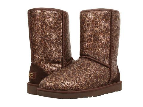 UGG - Classic Short Glitter (Bronze Textile) Women's Boots