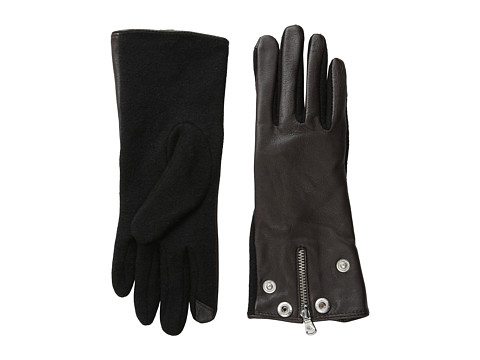LAUREN by Ralph Lauren - Moto Zip Hybrid Touch Glove (Dark Brown/Black) Dress Gloves