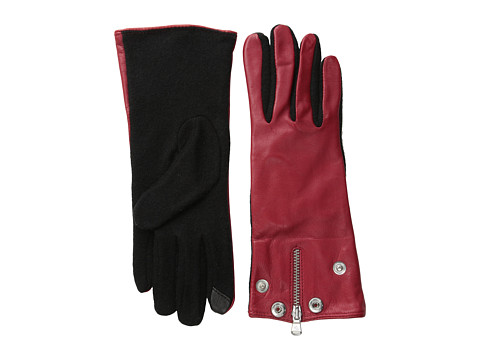 LAUREN by Ralph Lauren - Moto Zip Hybrid Touch Glove (CA Rose/Black) Dress Gloves