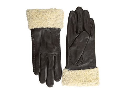 LAUREN by Ralph Lauren - Shearling Cuff Leather Glove (Dark Brown/Cream) Dress Gloves