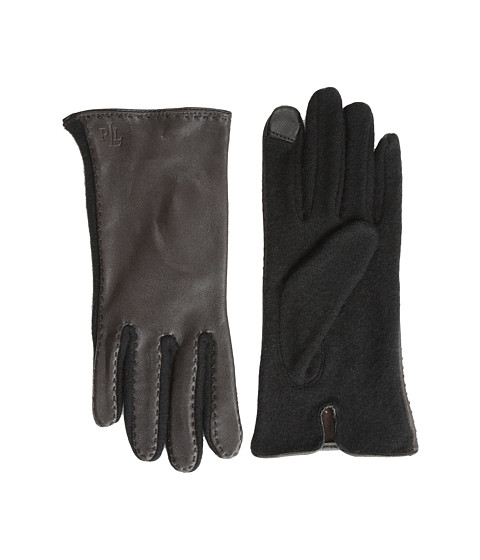 LAUREN by Ralph Lauren - Cut Sew Leather Back Touch Glove (Dark Brown/Black) Dress Gloves