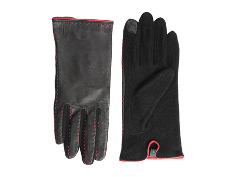 LAUREN by Ralph Lauren - Cut Sew Leather Back Touch Glove (Black Modern Red) Dress Gloves