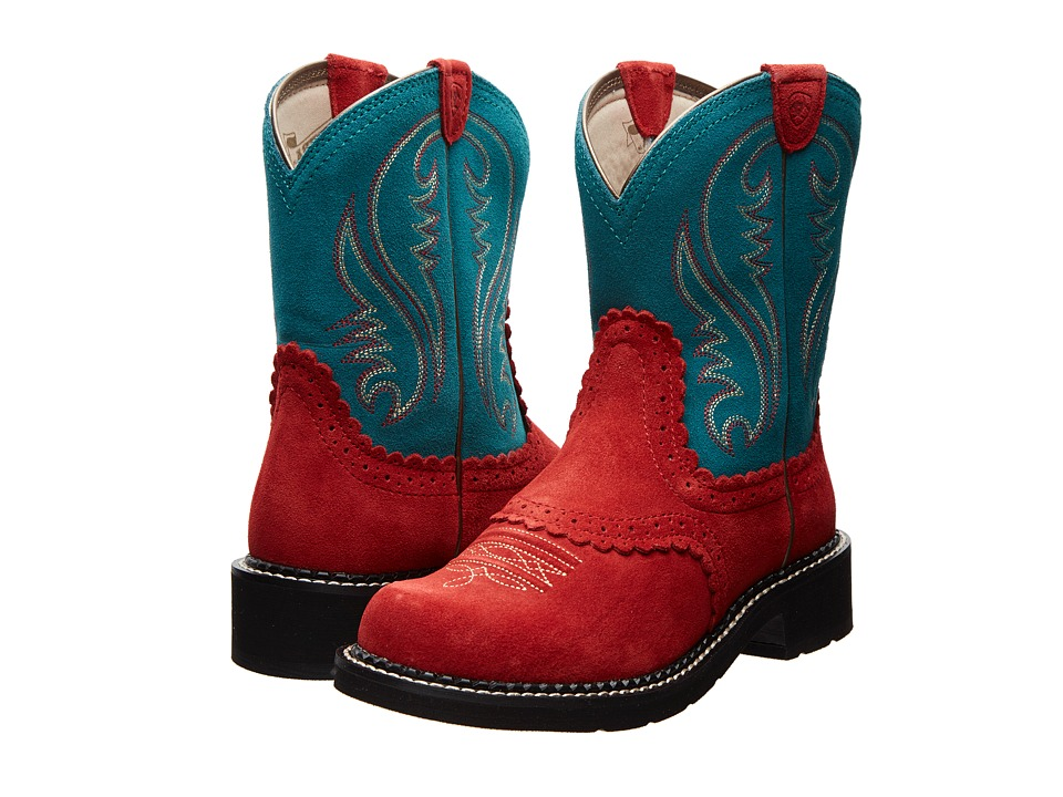 Ariat - Fatbaby Sheila (Crimson/Turquoise) Cowboy Boots