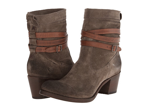Frye - Jane Strappy Short (Fatigue Suede/Veg Tan) Cowboy Boots