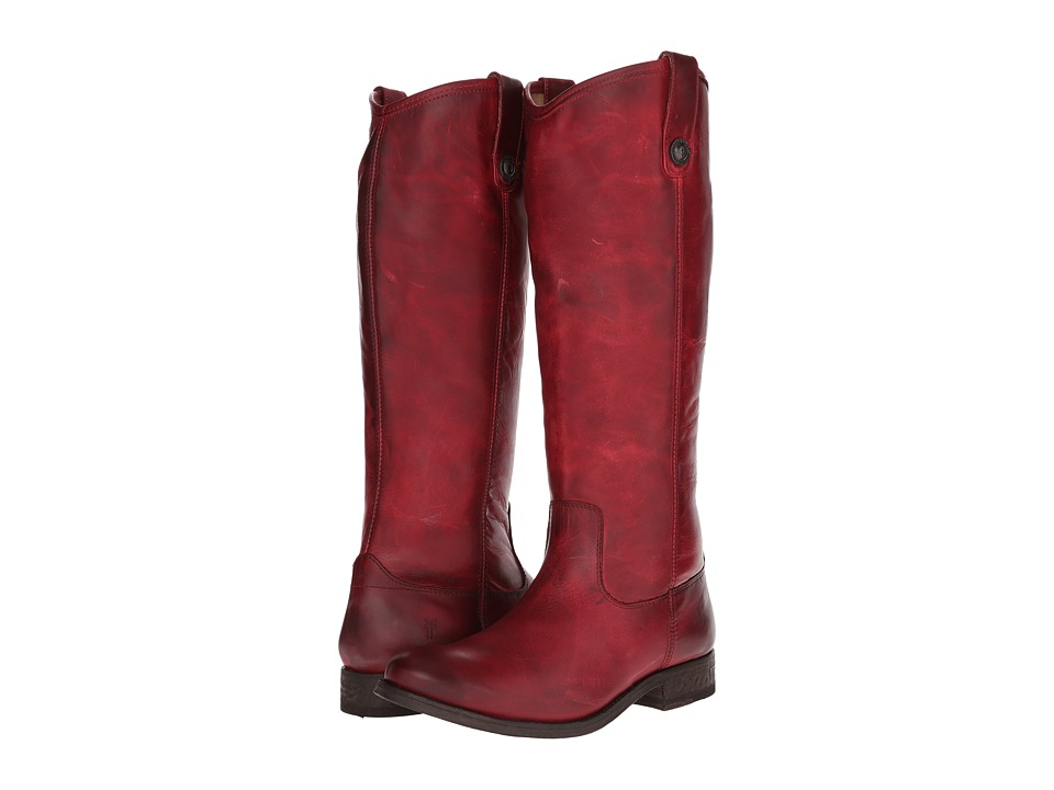 Frye Melissa Button (Burgundy Washed Antique Pull Up) Cowboy Boots