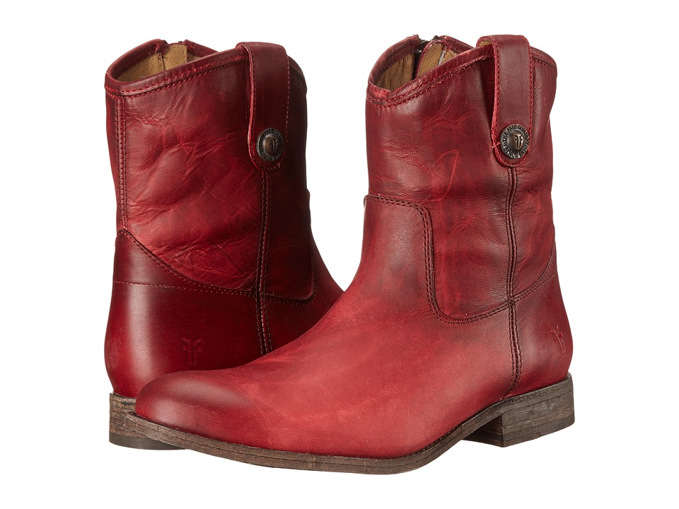 Frye Melissa Button Short (Burgundy Washed Antique Pull Up) Cowboy Boots