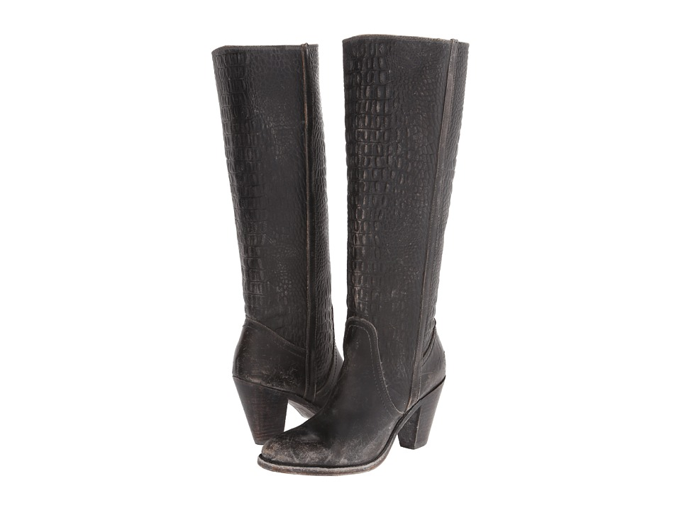 Frye - Mustang Pull On (Black Embossed Stone Wash) Women's Pull-on Boots