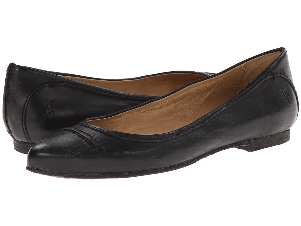 Frye - Olive Seam Ballet (Black Washed Smooth Vintage Leather) Women's Slip on Shoes