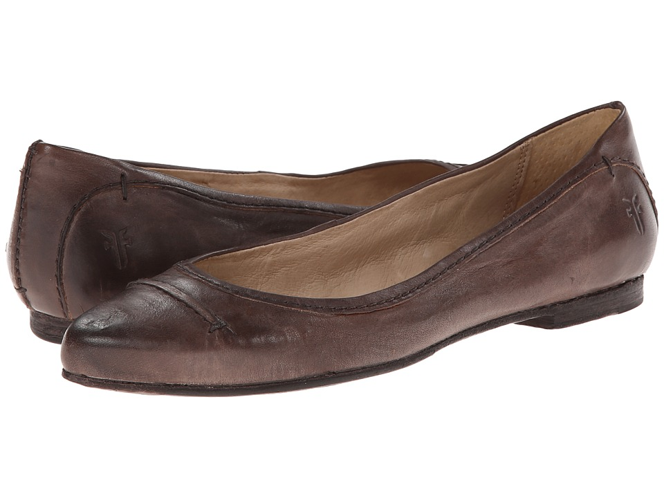 Frye - Olive Seam Ballet (Charcoal Washed Smooth Vintage Leather) Women