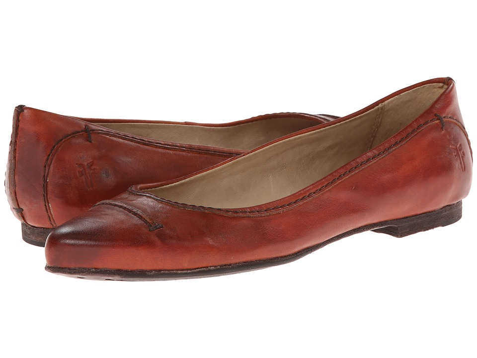 Frye - Olive Seam Ballet (Russet Washed Smooth Vintage Leather) Women's Slip on Shoes