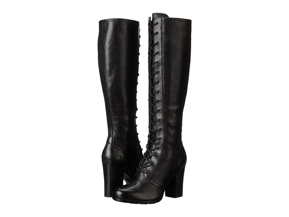 Frye Parker Tall Lace Up (Black Antique Pull Up) Women