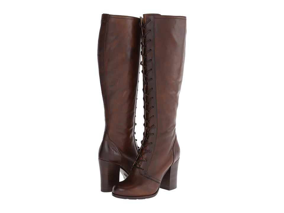 Frye - Parker Tall Lace Up (Dark Brown Antique Pull Up) Women's Lace-up Boots