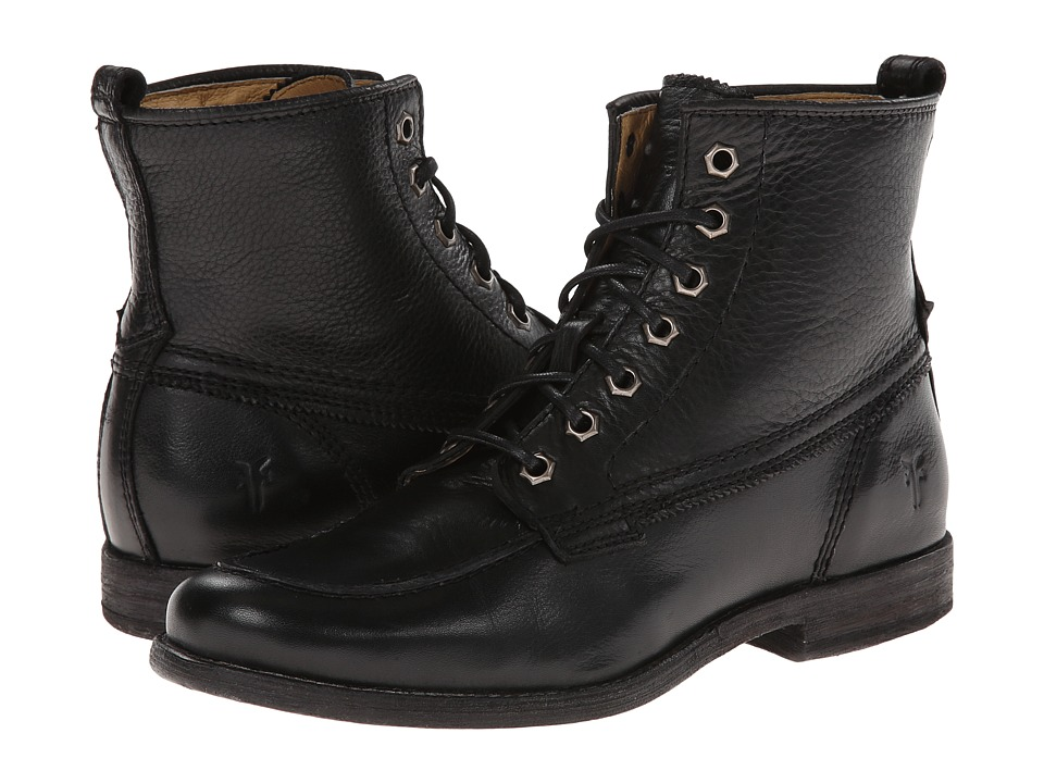 Frye - Phillip Work Boot (Black Soft Vintage Leather) Women's Work Lace-up Boots