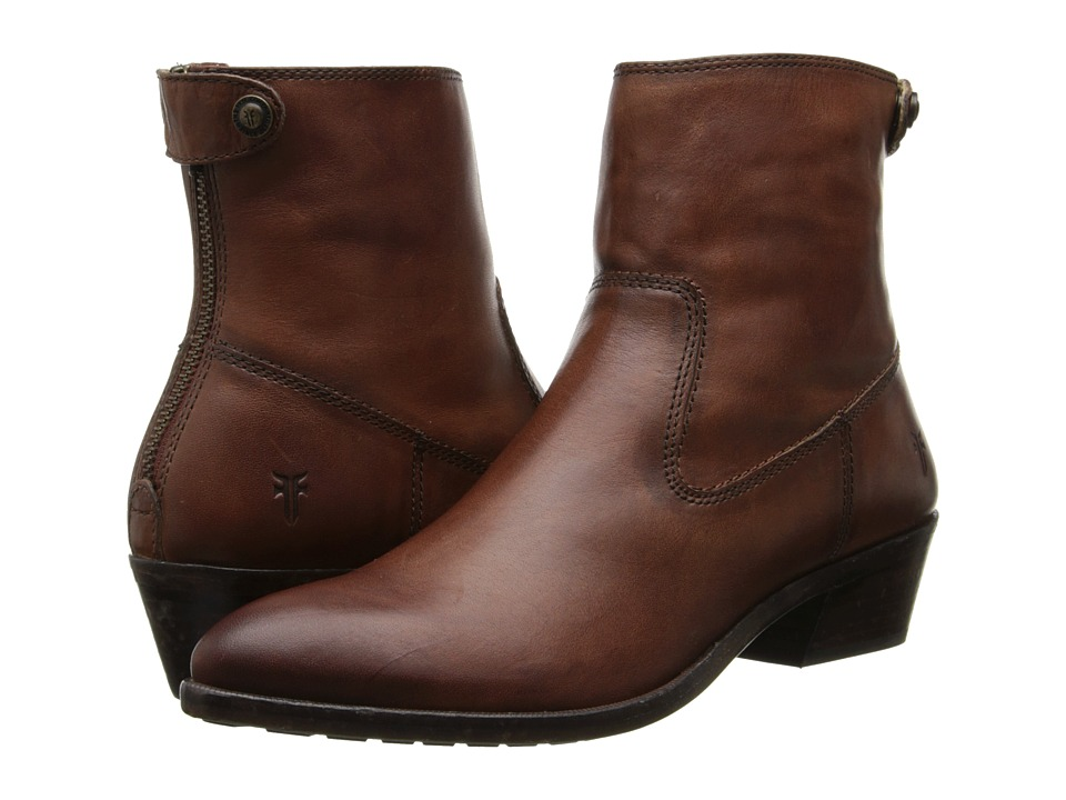 Frye - Ruby Short Back Zip (Brown Smooth Vintage Leather) Cowboy Boots