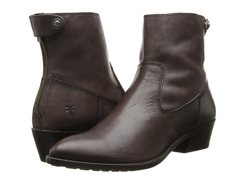 Frye - Ruby Short Back Zip (Charcoal Smooth Vintage Leather) Cowboy Boots