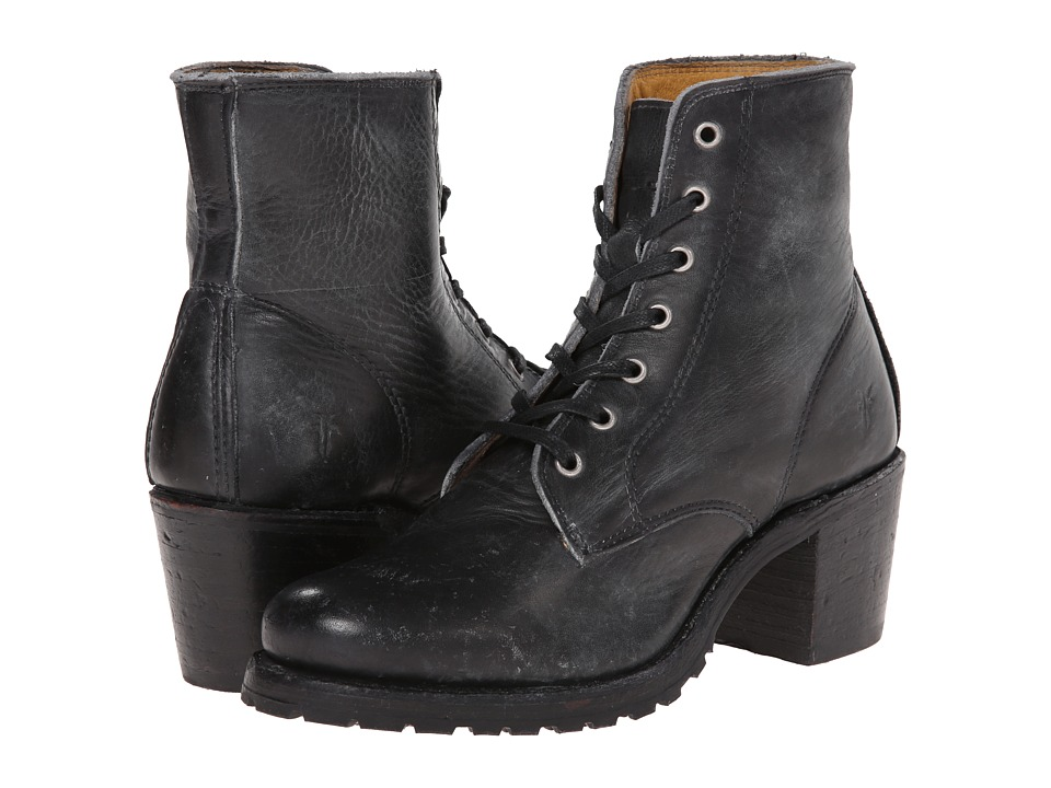 Frye - Sabrina 6G Lace Up (Black Montana Stone Wash) Women's Lace-up Boots