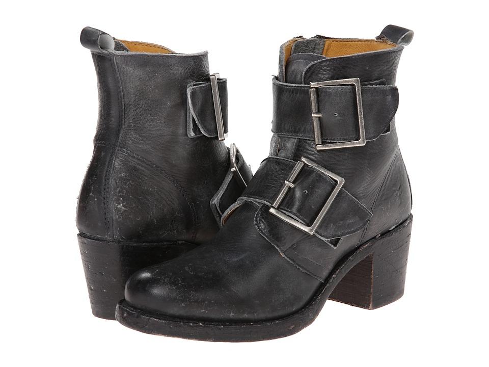 Frye - Sabrina Double Buckle (Black Montana Stone Wash) Cowboy Boots