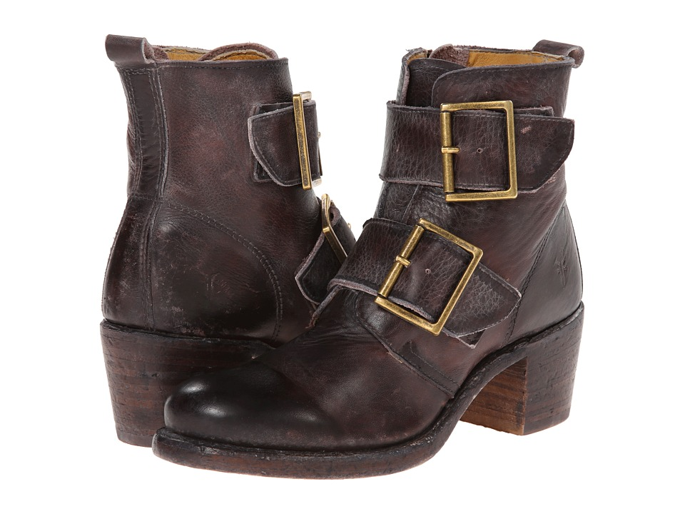 Frye - Sabrina Double Buckle (Walnut Montana Stone Wash) Cowboy Boots