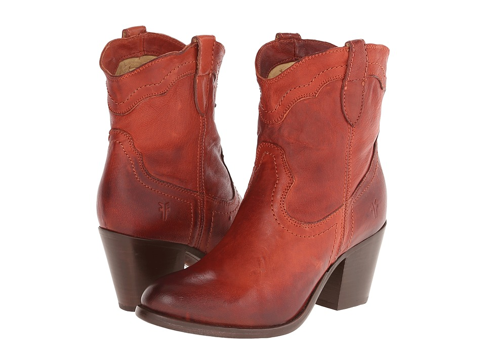 Frye - Tabitha Pull On Short (Burnt Red Washed Antique Pull Up) Cowboy Boots