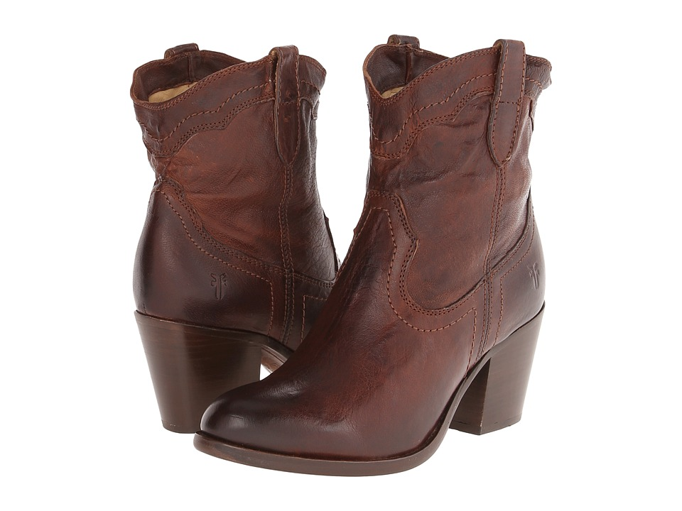 Frye - Tabitha Pull On Short (Dark Brown Washed Antique Pull Up) Cowboy Boots