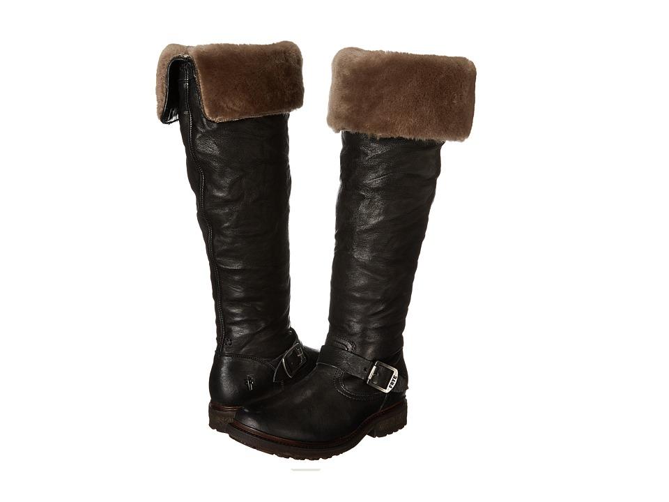 Frye - Valerie OTK (Black Antique Soft Vintage/Shearling) Cowboy Boots