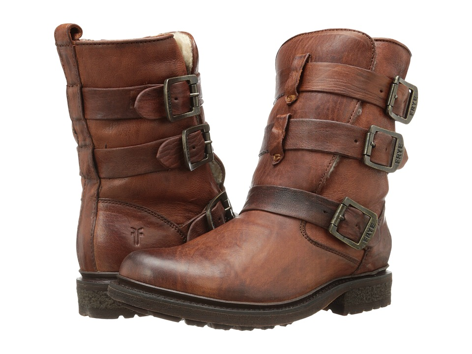 Frye - Valerie Strappy (Cognac Antique Soft Vintage/Shearling) Cowboy Boots