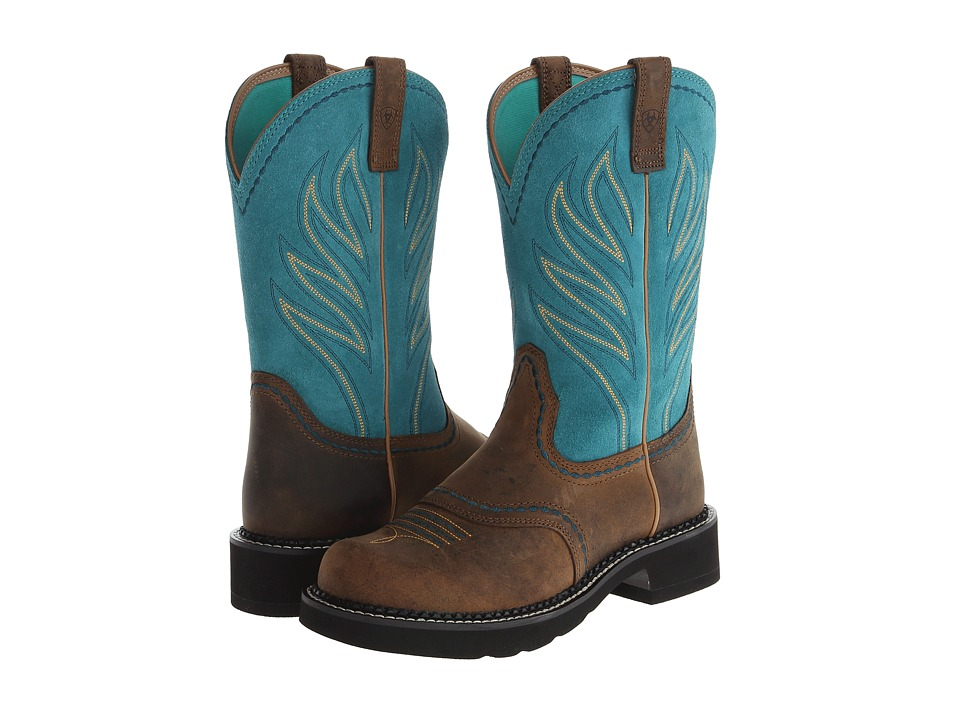 Ariat - Probaby Flame (Distressed Brown/Turquoise) Cowboy Boots