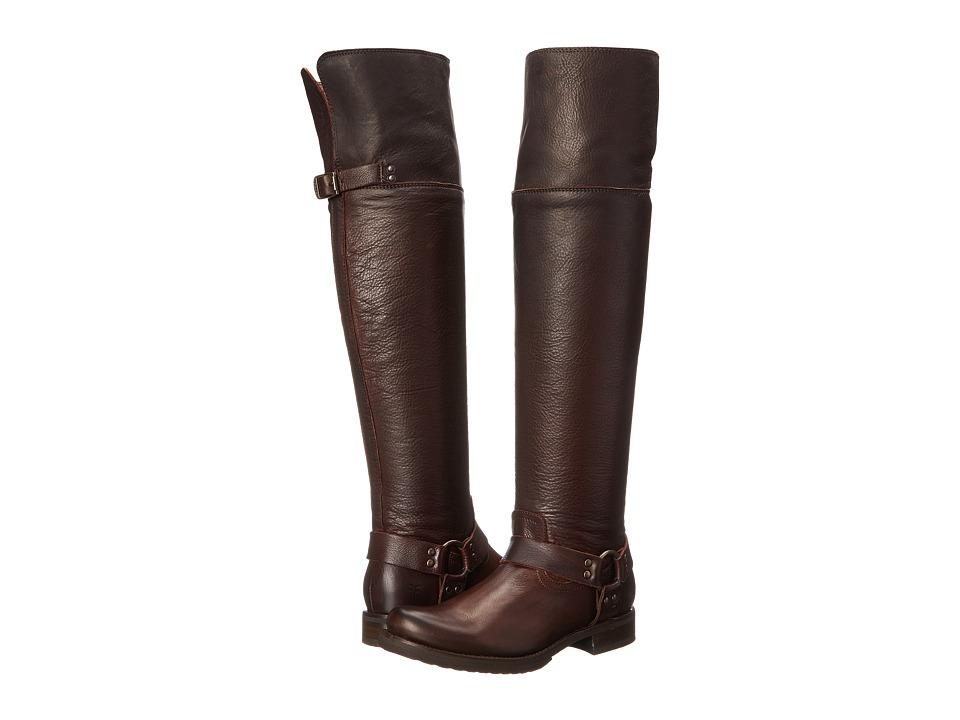 Frye Veronica Harness OTK (Dark Brown Soft Vintage Leather) Cowboy Boots