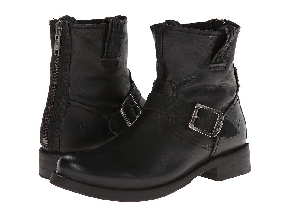 Frye - Vicky Artisan Back Zip (Black Tumbled Full Grain) Cowboy Boots