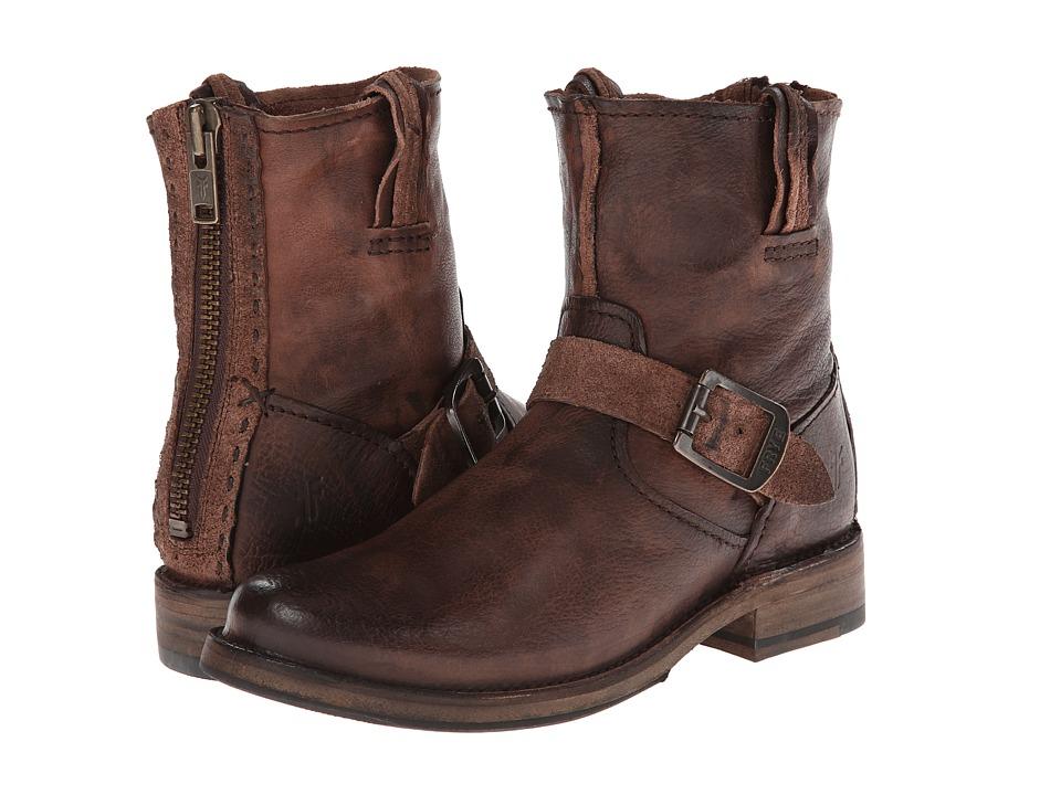 Frye - Vicky Artisan Back Zip (Dark Brown Tumbled Full Grain) Cowboy Boots