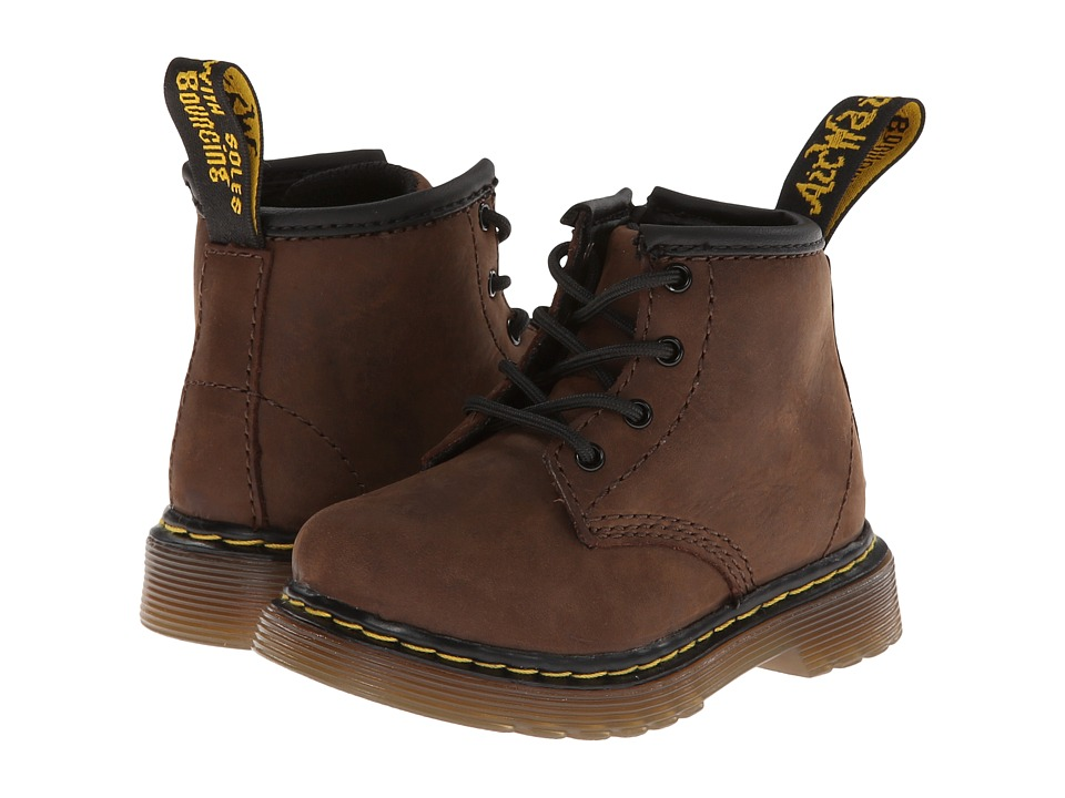 Dr. Martens Kid's Collection - Brooklee B 4-Eye Lace Boot (Toddler) (Dark Brown Burnished Wyoming) Kids Shoes