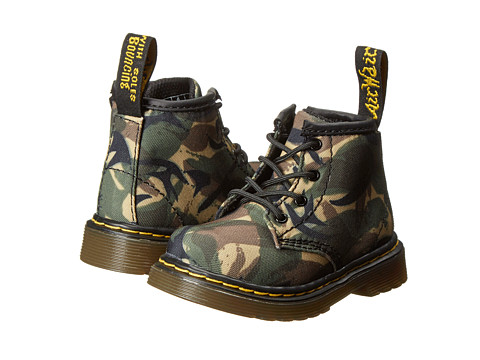 Dr. Martens Kid's Collection - Brooklee B 4-Eye Lace Boot (Toddler) (Green EM Small British Camo Waxy) Kids Shoes
