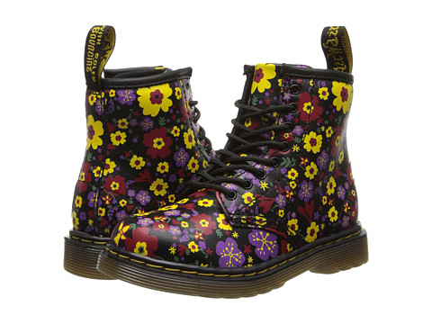 Dr. Martens Kid's Collection - Brooklee 8-Eye Lace Boot (Toddler) (Black Vintage Garden Softy T) Girls Shoes