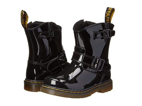 Dr. Martens Kid's Collection - Nisha Engineer Calf Boot (Toddler) (Black Patent Lamper) Girls Shoes