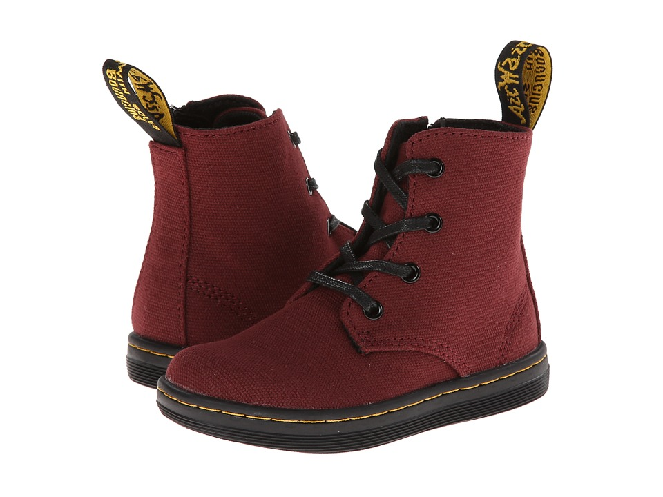 Dr. Martens Kid's Collection - Laney Lace Boot (Toddler) (Cherry Red Canvas) Girls Shoes