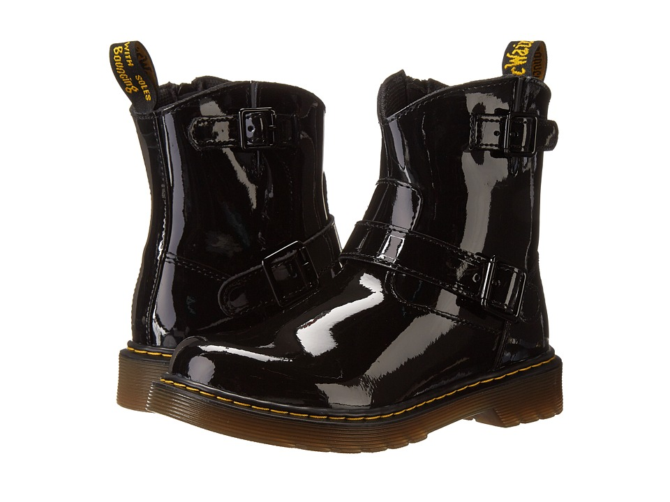Dr. Martens Kid's Collection - Blip Engineer Boot (Little Kid/Big Kid) (Black Patent Lamper) Girls Shoes
