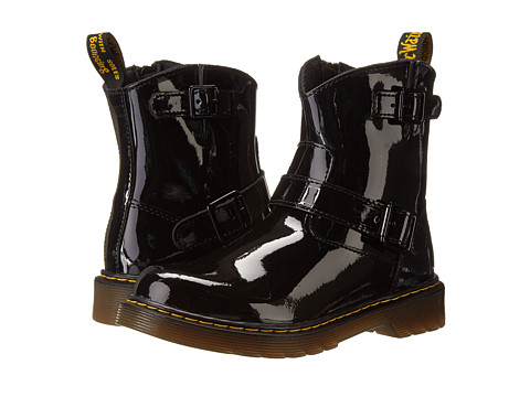Dr. Martens Kid's Collection - Blip Engineer Boot (Little Kid/Big Kid) (Black Patent Lamper) Girls Shoes