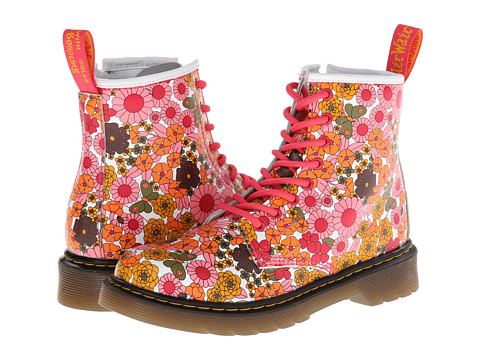 Dr. Martens Kid's Collection - Delaney Lace Boot (Little Kid/Big Kid) (Pink Vintage Daisy Softy T) Girls Shoes