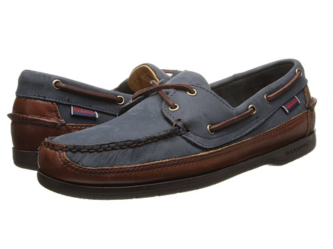 Sebago - Schooner (Navy/Brown Leather) Men