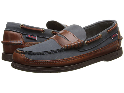 Sebago - Sloop (Navy/Brown Leather) Men's Slip on Shoes