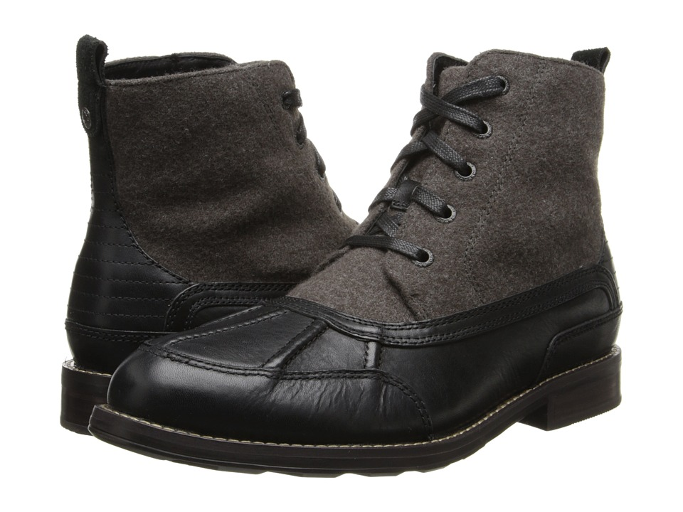 Sebago - Coburn Lace Mid (Black Leather/Grey Wool) Men's Shoes