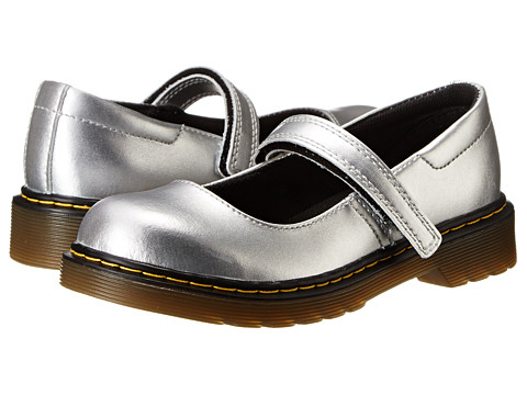 Dr. Martens Kid's Collection - Maccy Mary Jane (Little Kid/Big Kid) (Silver Alumix) Girls Shoes