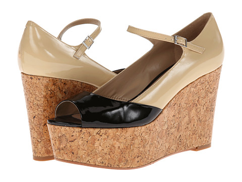 Paris Hilton - Griselda (Black/Natural Patent) Women's Wedge Shoes