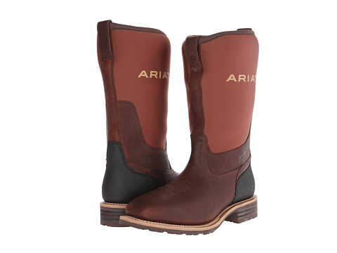Ariat - Hybrid All Weather Steel Toe Wide Square Toe (Oiled Brown/Brown Neoprene) Cowboy Boots