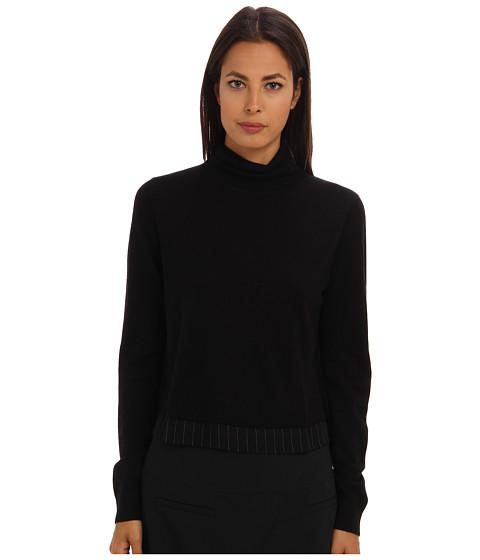 tibi - Woven Mixed Sweater Woven Back Turtleneck (Black Multi) Women's Sweater