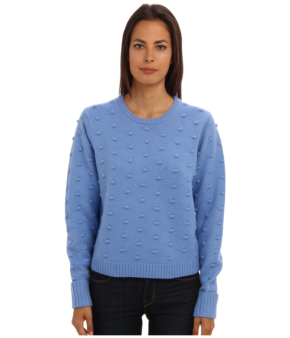 tibi - Popcorn Stitch Crewneck Pullover (Cerulean Blue) Women's Long Sleeve Pullover