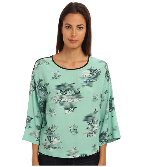 tibi - Floreale Print Top w/ Mesh Back (Beryl Green Multi) Women