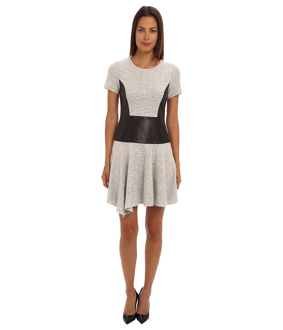 tibi - Whitby Check Knit Short Sleeve Dress w/ Embossed Combo (Natural Black Multi) Women's Dress
