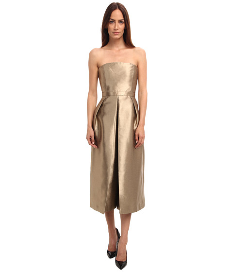 tibi - Halcyon Taffeta Strapless Jumpsuit w/ Pleating Detail (Gold) Women's Jumpsuit & Rompers One Piece