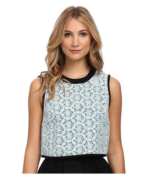 tibi - Felted Embroidery Lace Sleeveless Top (Ice Blue Multi) Women
